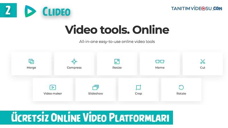 2 - Clideo Online Ücretsiz Tanıtım Videosu